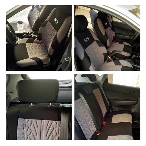Чехлы на автомобильные кресла (полный набор) Supretto, Черный/Серый