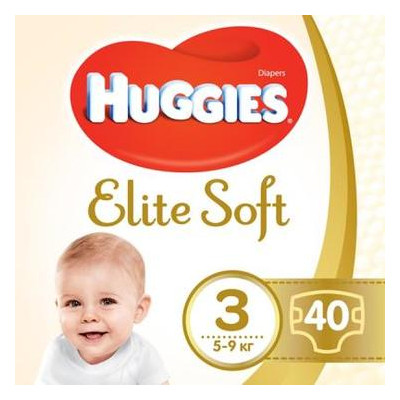 Подгузник Huggies Elite Soft 3 5-9кг Jumbo 40шт (5029053547770)