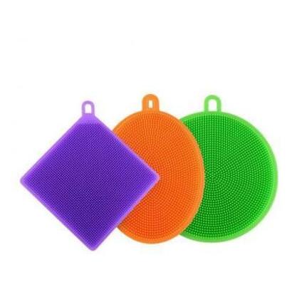 Набор силиконовых губок Supretto 3 шт оранжевый+зеленый+фиолетовый