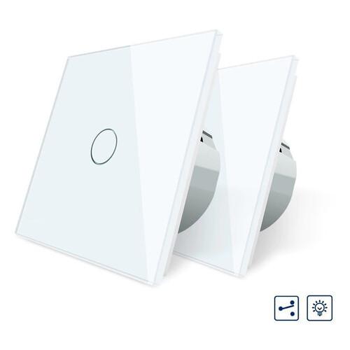 Комплект сенсорных проходных выключателей Livolo цвет белый стекло (VL-C701S-11 2 шт)