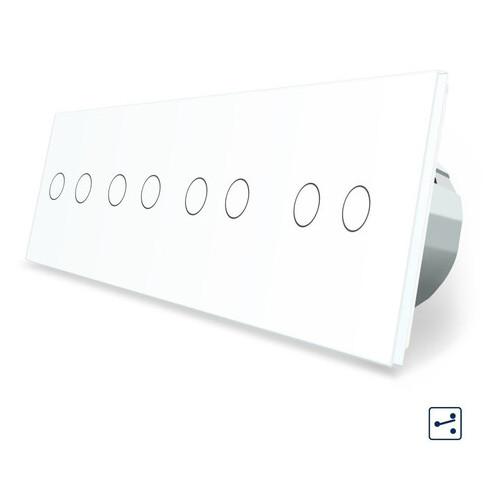 Сенсорный проходной выключатель Livolo на 8 каналов 2-2-2-2 белый стекло (VL-C708S-11)