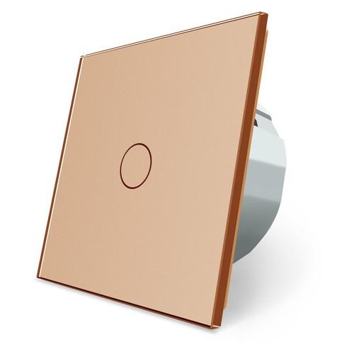 Комплект Сенсорный проходной диммер Livolo золотой стекло (VL-C701H/C701H/S1B-13)