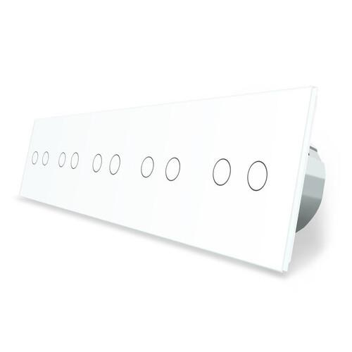Сенсорный выключатель Livolo 10 каналов (2-2-2-2-2) белый стекло (VL-C710-11)