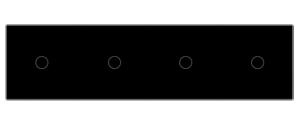Сенсорный радиоуправляемый проходной выключатель Livolo 4 канала (1-1-1-1) черный стекло (VL-C704SR-12)