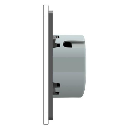 Сенсорный радиоуправляемый проходной выключатель Livolo 4 канала (1-1-1-1) серый стекло (VL-C704SR-15)