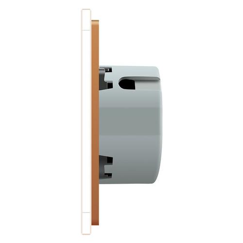 Сенсорный радиоуправляемый проходной выключатель Livolo 4 канала (1-1-1-1) золотой стекло (VL-C704SR-13)