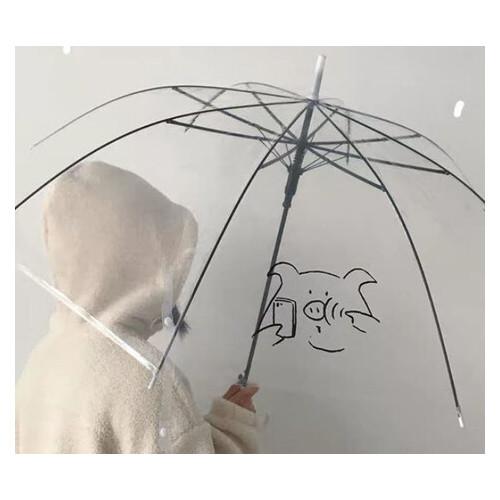 Большой силиконовый прозрачный зонт трость с рисунком (ЗН-024)