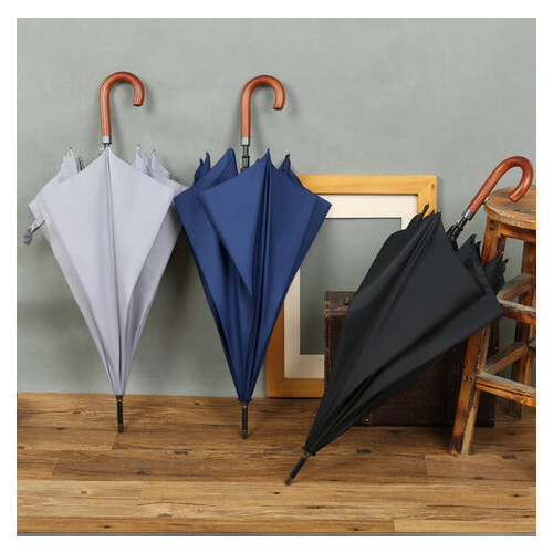Стильный большой зонт трость с крюком (ЗН-027)