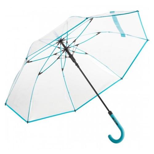 Зонт трость полуавтомат Fare 7112 прозрачный/бирюзовый