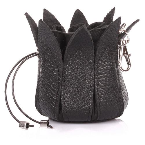 Кожаная ключница-цветок Poolparty Черный (keychain-flower-black)