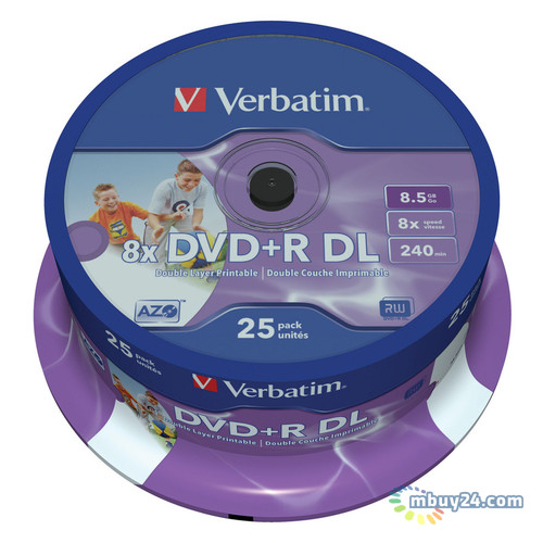 Диски Verbatim DVD+R 8,5GB 8x Spindle Packaging Dual Layer Printable 25шт (43667)