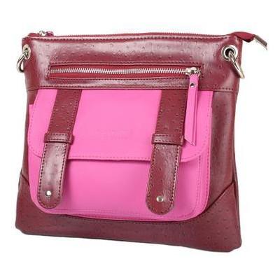 Женская сумка из качественного кожезаменителя Laskara LK-10238-bordeaux-fuchia