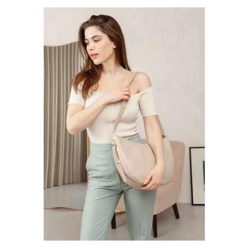 Кожаная женская сумка Круассан светло-бежевая BlankNote (BN-BAG-12-beige-kiser)