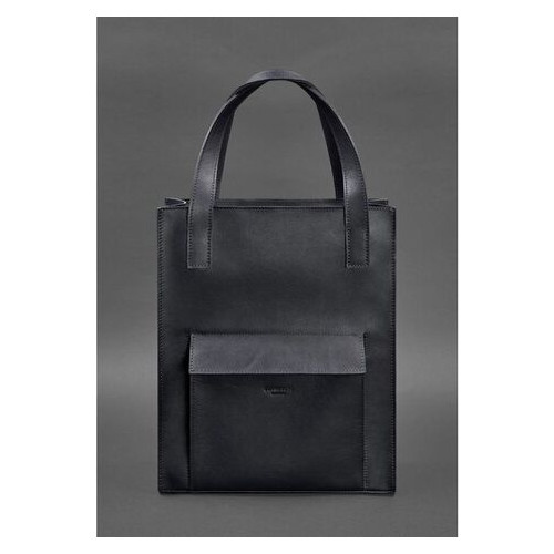 Кожаная женская сумка шоппер Бэтси с карманом синяя Краст BlankNote (BN-BAG-10-1-navy-blue)