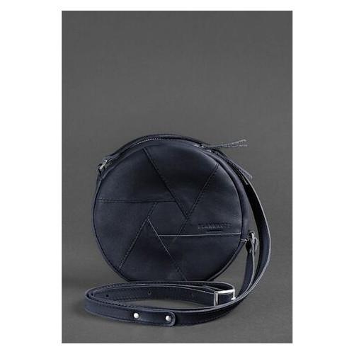 Кожаная круглая женская сумка Бон-Бон темно-синяя BlankNote (BN-BAG-11-navy-blue)