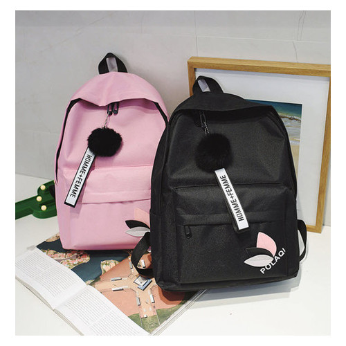 Модный тканевый рюкзак с помпоном (РК-369)