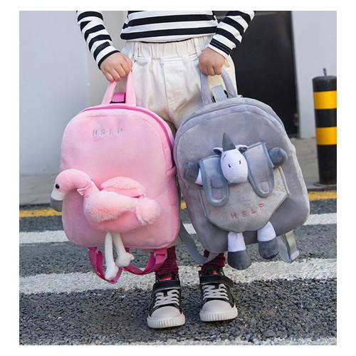 Оригинальный тканевый рюкзак с мягкой игрушкой в кармане единорог/фламинго (РК-410)