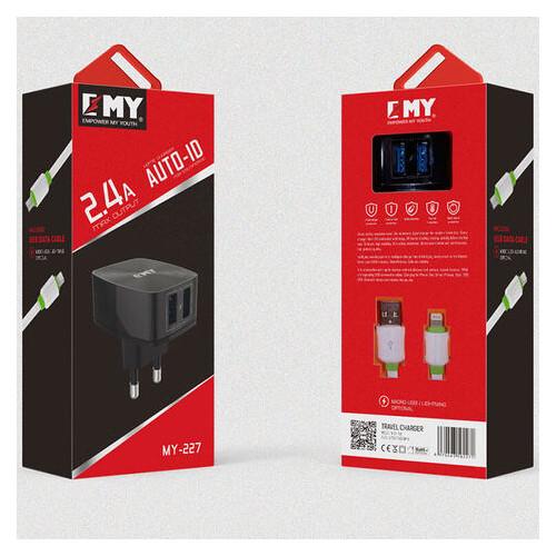 Сетевое зарядное устройство Emy MY-227 2USB 2.4A Lightning white (mbpt-22903) (ZZ63mbpt-22903)