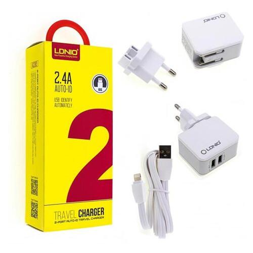 Сетевое зарядное устройство Ldnio A2203 2USB 2.4A Lightning white (mbpt-27461) (ZZ63mbpt-27461)