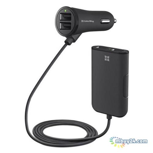 Автомобильное зарядное устройство ColorWay + кабель Black (CW-CHA005-BK)