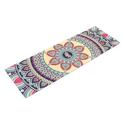 Коврик для йоги Record бежевый с цветочным принтом (FI-5662-14)