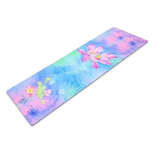 Коврик для йоги Record розовый-голубой с цветочным принтом (FI-5662-33)